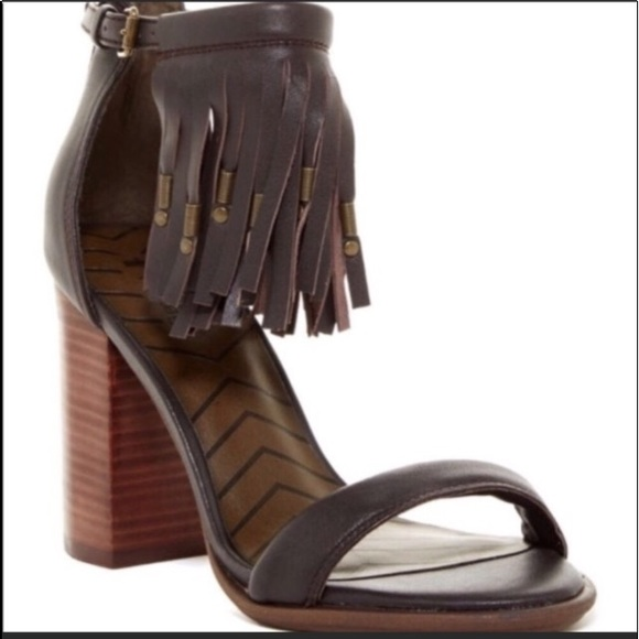 5d43cb21d88 Mia Cristie Nappa Brown Block Heel Fringe Sandal